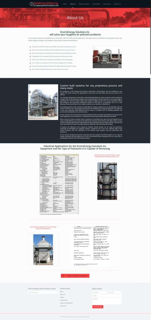 Website design for gas cleaning equipment