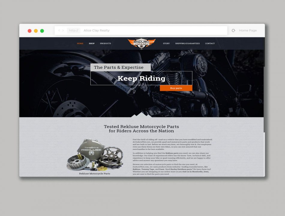 Website design for motorcycle parts online shop