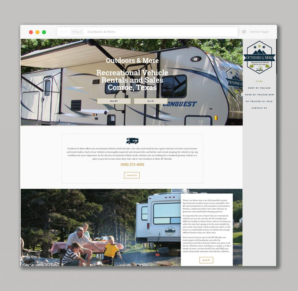 Website design for RV Rental & Sales Company