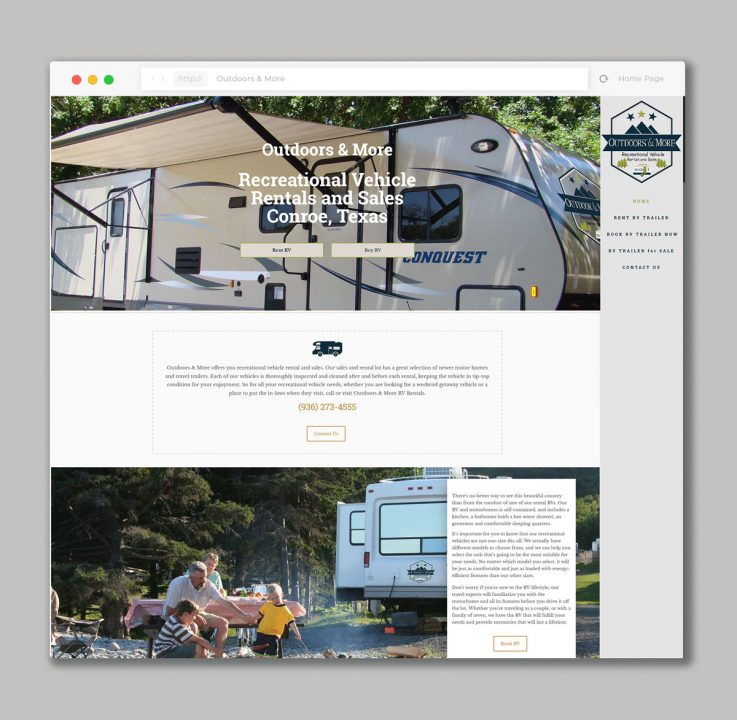 Website design for RV Rental & Sales Company