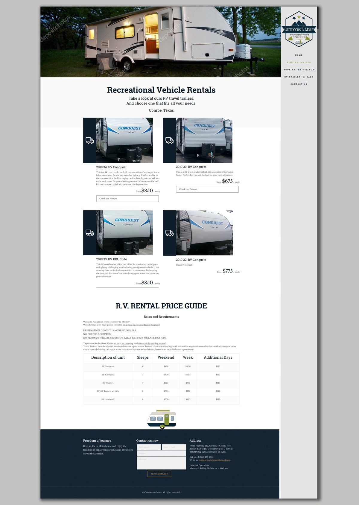 Website design for RV Rental & Sales Company – LibertySky
