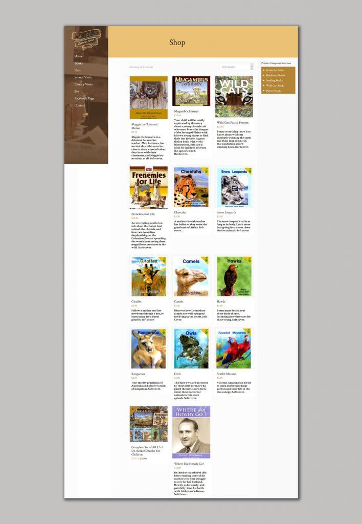 Website design for the writer of children's books
