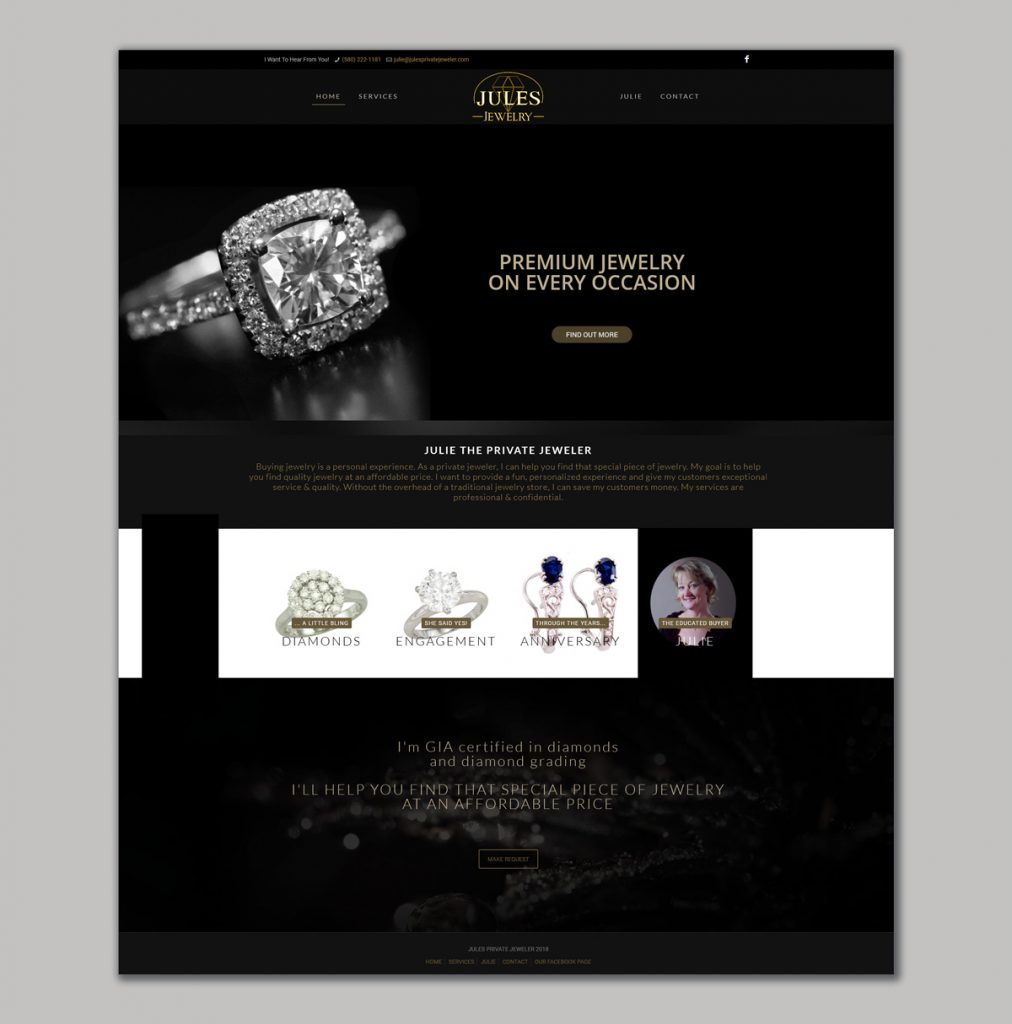 Website design for the Private Jeweler