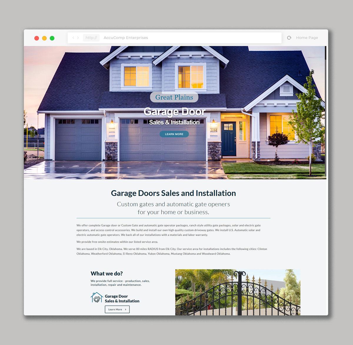 Website Design For Garage Doors & Custom Gates Company