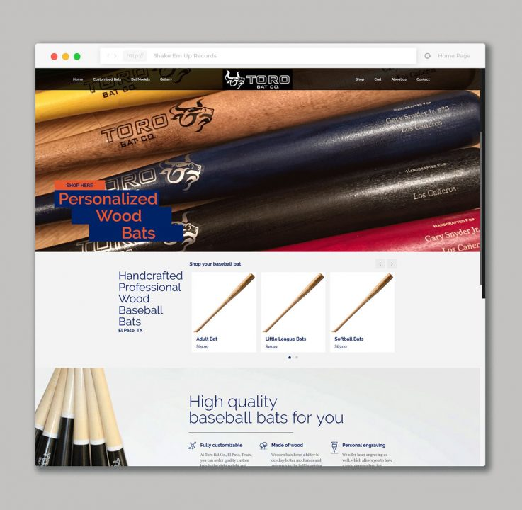 Websited design for Online shop of Wood Baseball Bats