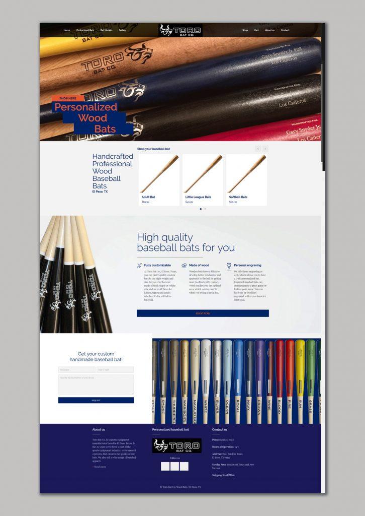Websited design for Online shop of Wood Baseball Bats