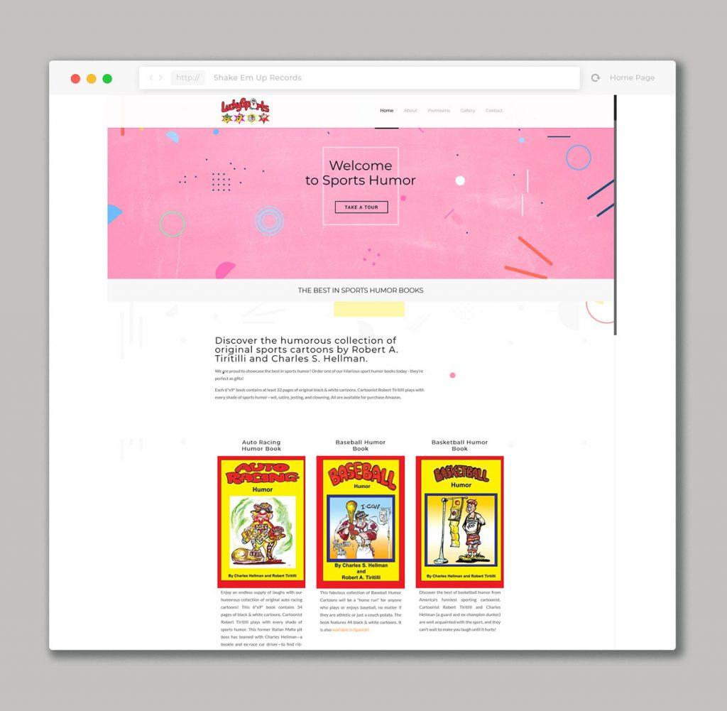 Website design for sports humor books sales