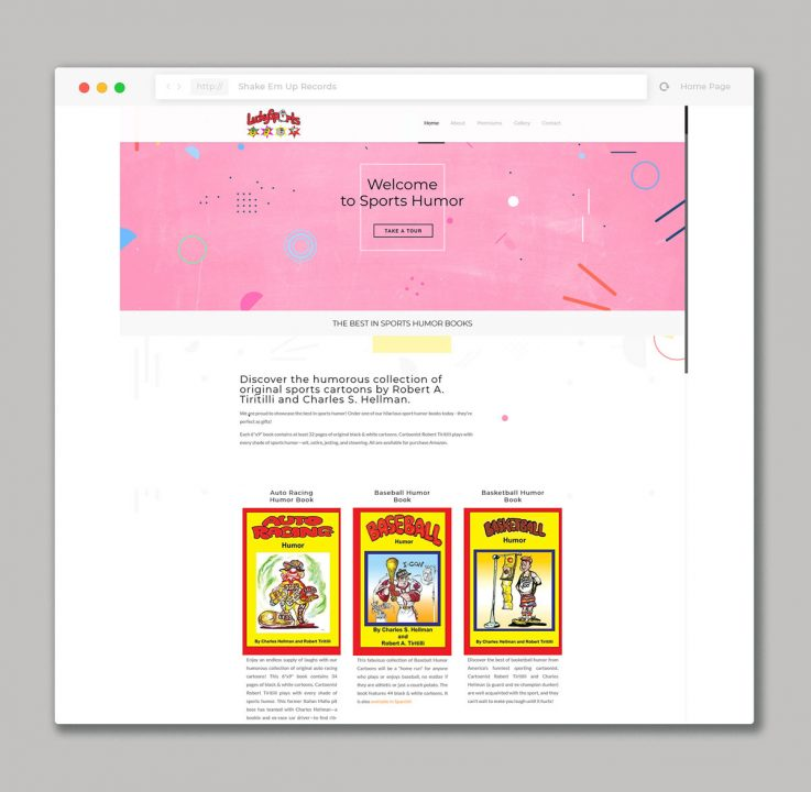 website design for sports humor books sales