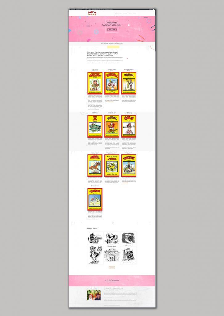 website design for sports humor books sales books shop