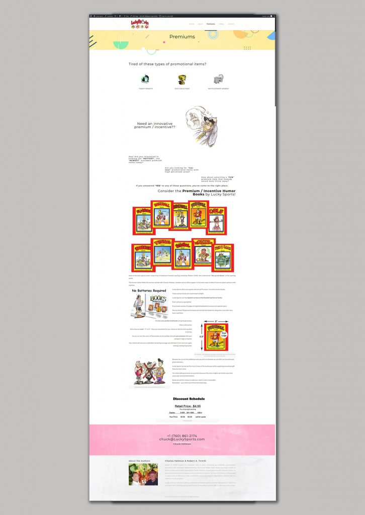 website design for sports humor books sales premiums
