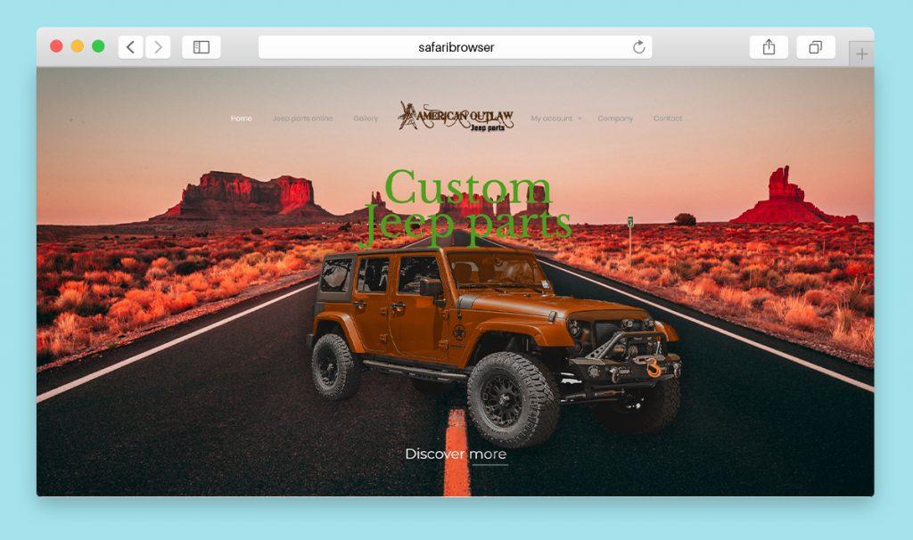 Website Design for a custom Jeep parts online shop