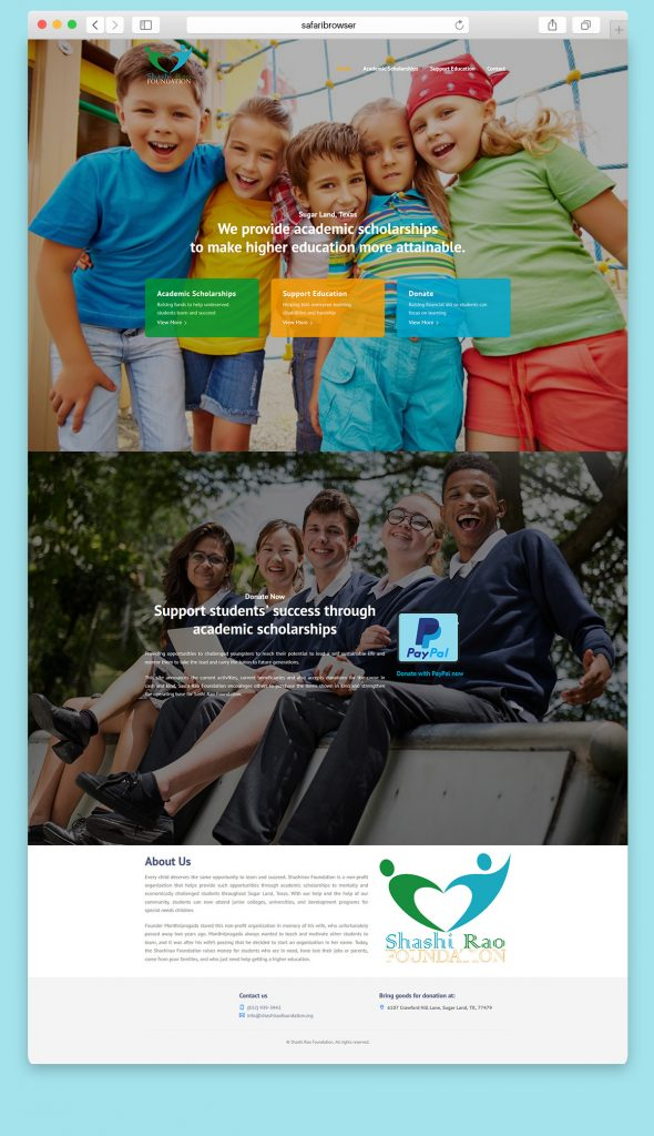 Website design for a Charity organization