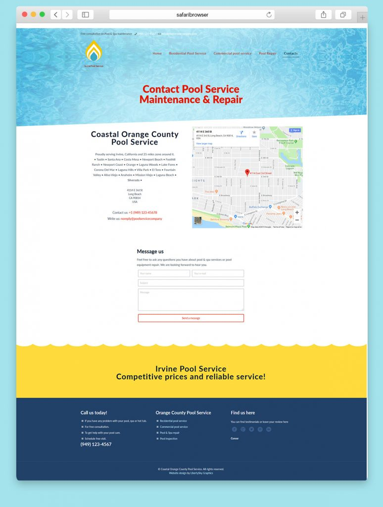 Website design for a Commercial pool service company