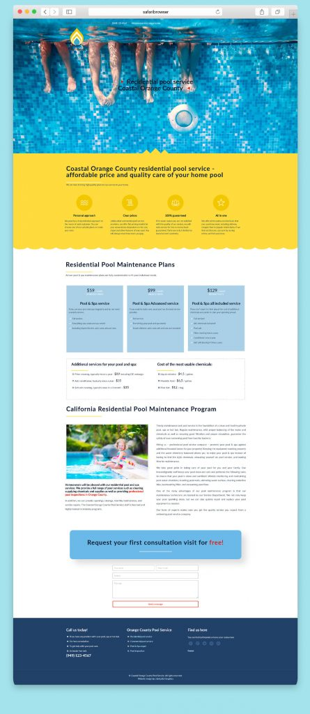Website design for a Residential poll service company