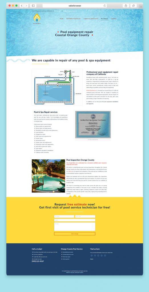 Website design for a poll repair service company