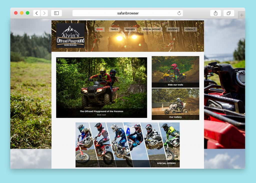 Website design for an Off road ATV park