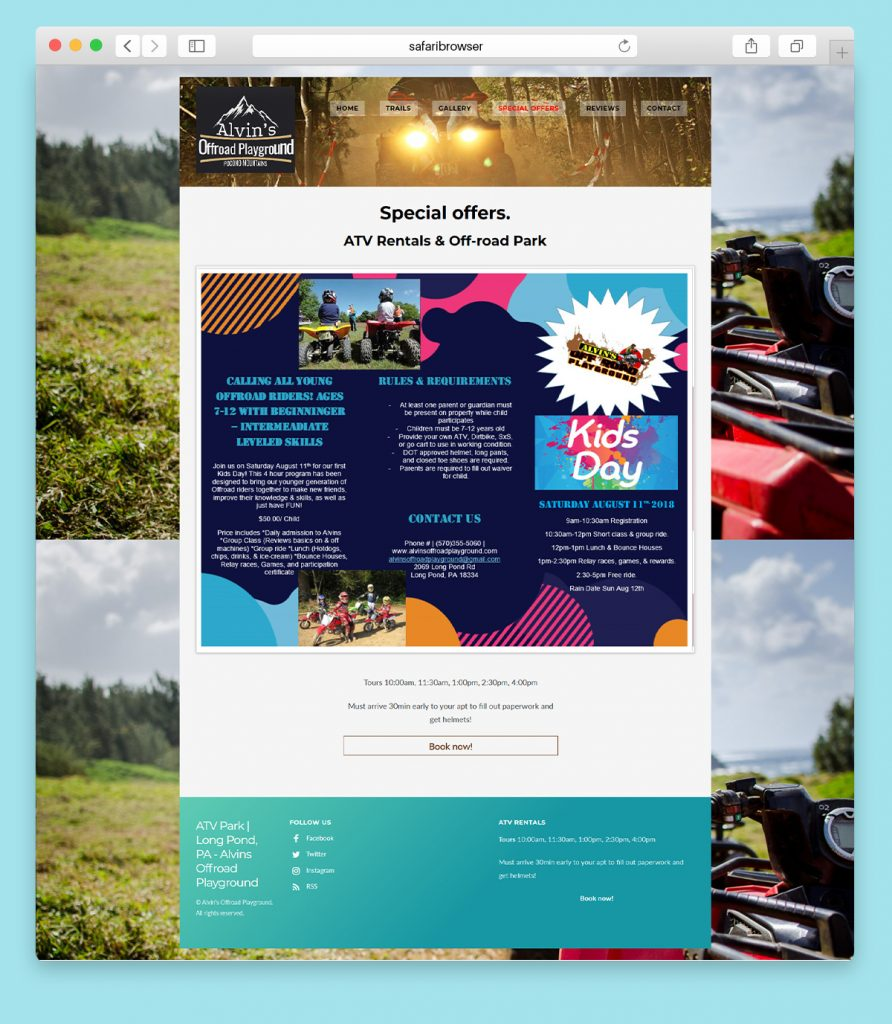 Website design for an Off-road ATV park Trails page full