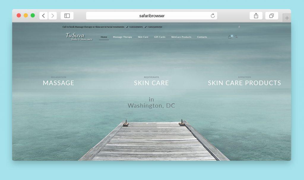 Website and online shop design for TuSuva Spa